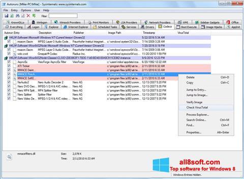 Screenshot AutoRuns for Windows 8