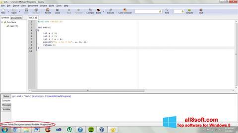 Screenshot Geany for Windows 8