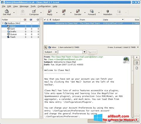 Screenshot Claws Mail for Windows 8