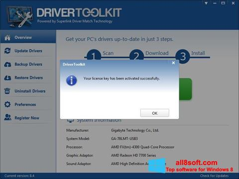 Screenshot Driver Toolkit for Windows 8