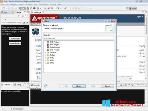 Screenshot Aptana Studio for Windows 8
