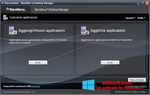 Screenshot BlackBerry Desktop Manager for Windows 8