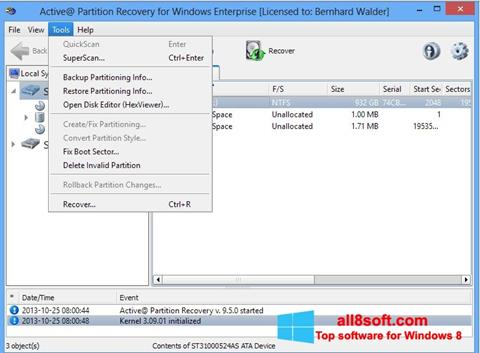 Screenshot Active Partition Recovery for Windows 8