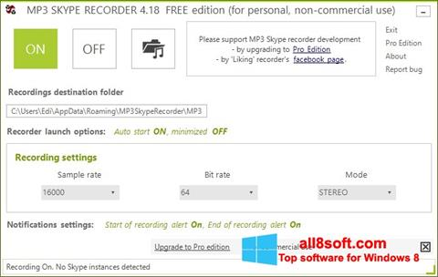Screenshot MP3 Skype Recorder for Windows 8