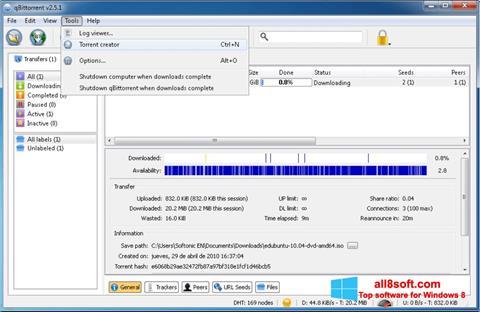 Screenshot qBittorrent for Windows 8