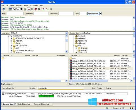 Screenshot FileZilla for Windows 8
