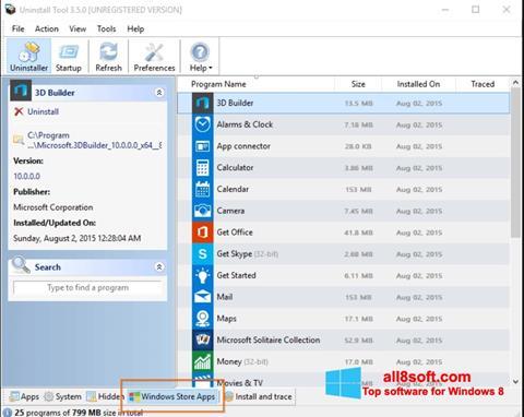 Screenshot Uninstall Tool for Windows 8