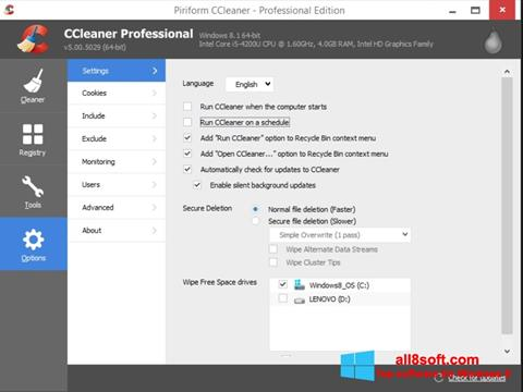 Screenshot CCleaner for Windows 8