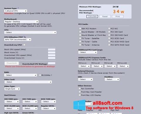Screenshot Power Supply Calculator for Windows 8
