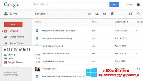 Screenshot Google Drive for Windows 8