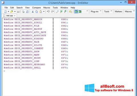 Screenshot EmEditor for Windows 8