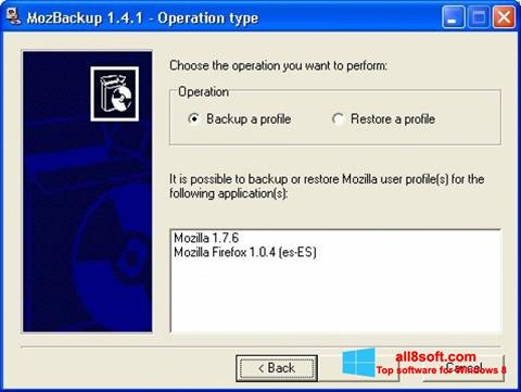 Screenshot MozBackup for Windows 8