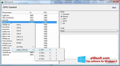 Screenshot CPU-Control for Windows 8