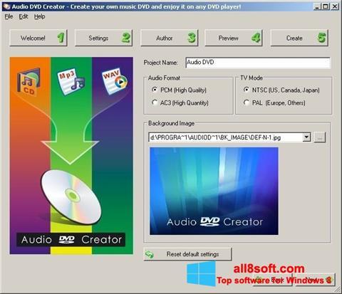 Screenshot Audio DVD Creator for Windows 8