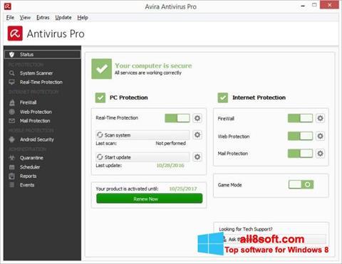 Screenshot Avira Antivirus for Windows 8