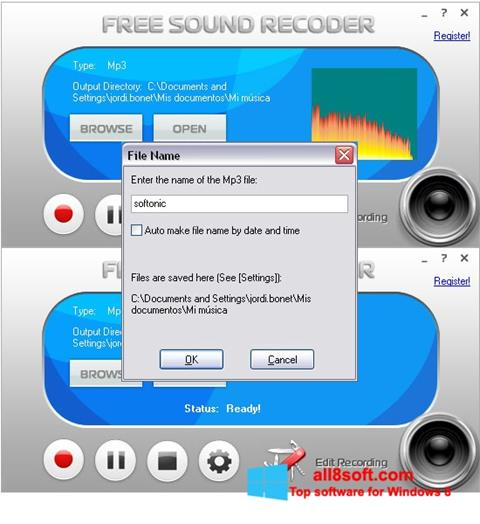 Screenshot Free Sound Recorder for Windows 8