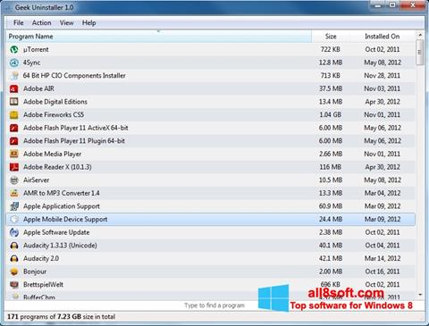 Screenshot Geek Uninstaller for Windows 8