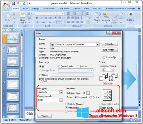 Screenshot Microsoft PowerPoint for Windows 8