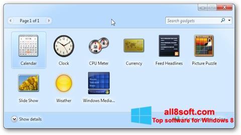 Screenshot 8GadgetPack for Windows 8
