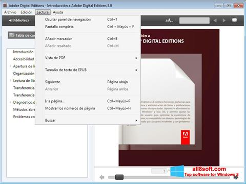 Screenshot Adobe Digital Editions for Windows 8