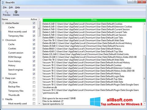 Screenshot BleachBit for Windows 8