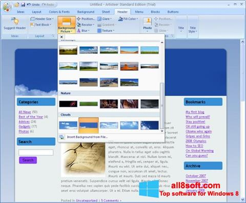 Screenshot Artisteer for Windows 8