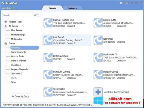 Screenshot RaidCall for Windows 8