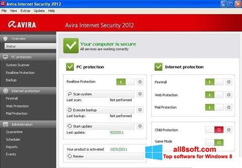 Screenshot Avira Internet Security for Windows 8