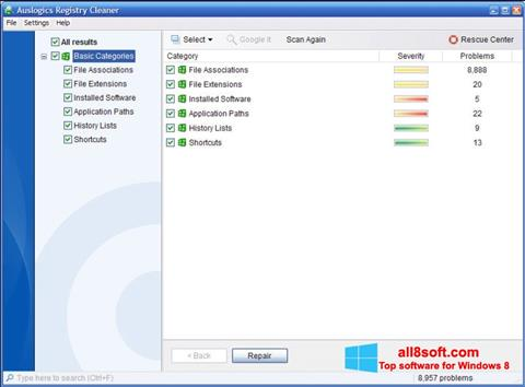 Screenshot Auslogics Registry Cleaner for Windows 8