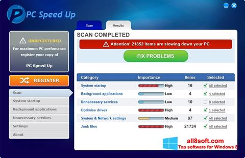 Screenshot PC Speed Up for Windows 8