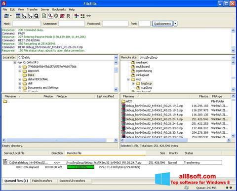 Screenshot FileZilla Server for Windows 8