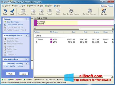 Screenshot EASEUS Partition Master for Windows 8